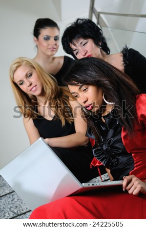 business woman group team work on laptop at staircase - stock photo