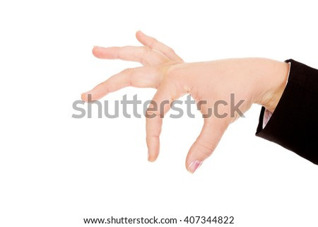 Business woman hand choosing someone or something - stock photo