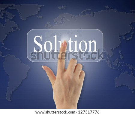 business woman hand pushing solution button on a touch screen  interface - stock photo