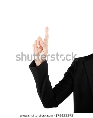 Business woman hand touching virtual screen isolated on white.