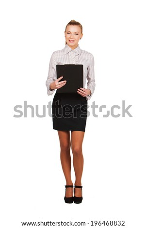 business woman handing black folder, isolated on white. - stock photo