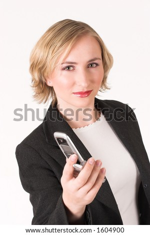 Business woman handing cellphone to you