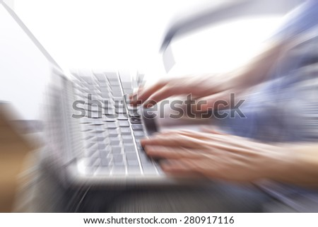 business woman hands busy using laptop at office desk,woman typing on the laptop ,office space