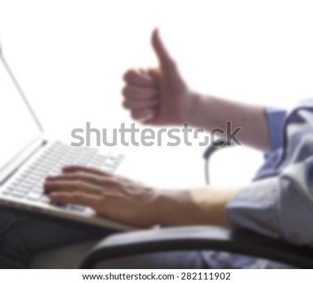 business woman hands busy using laptop at office desk,woman typing on the laptop ,office space ,blurred office background