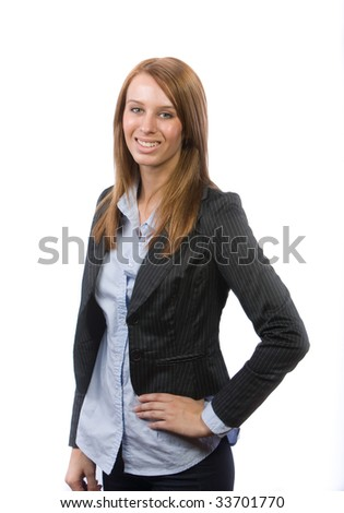 Business woman hands on hips isolated on white - stock photo