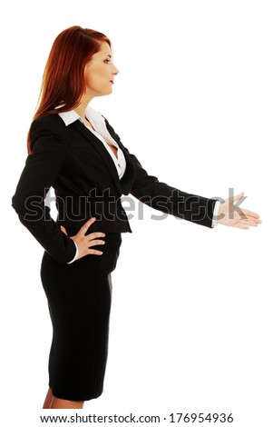 Business woman handshaking - isolate dover a white background - stock photo