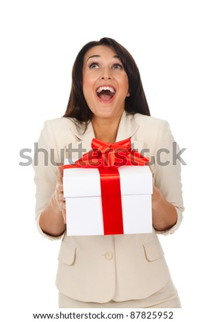 Business woman happy smile hold gift box in hands. Isolated over white background