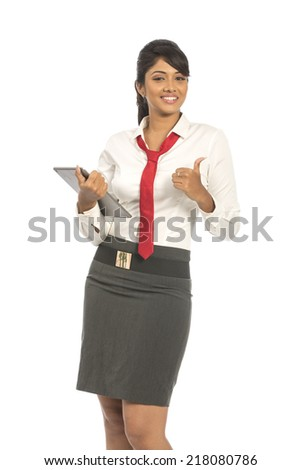 business woman happy smile holding tablet on white background. - stock photo