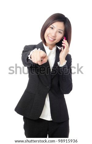 Business woman Happy Speaking Mobile phone isolated on white background, model is a asian beauty - stock photo