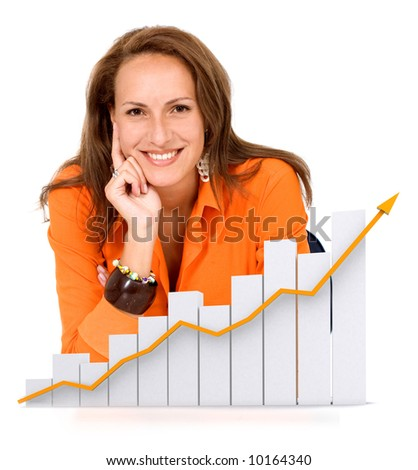business woman happy with her growth and success - isolated over a white background - stock photo