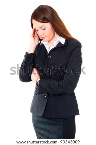 Business woman have a headache. Isolated over white background