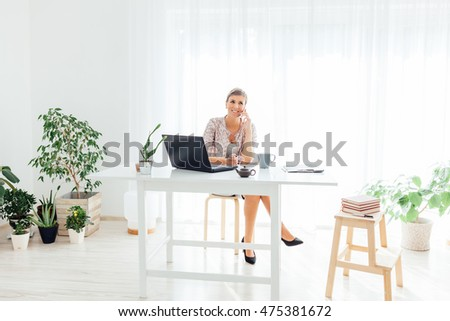 Fine Woman Home Office Stock Photos Royalty Free Images Vectors Largest Home Design Picture Inspirations Pitcheantrous