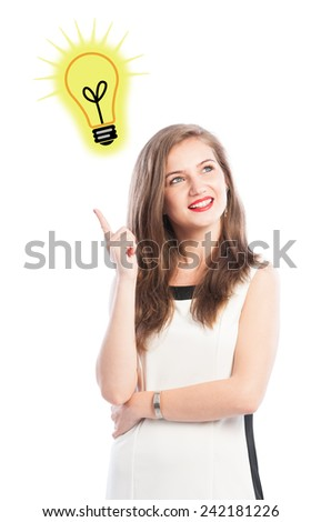 Business woman having a great idea concept on white background