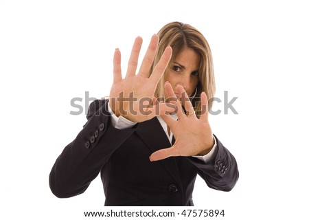 Business woman hiding her face with the hands - stock photo