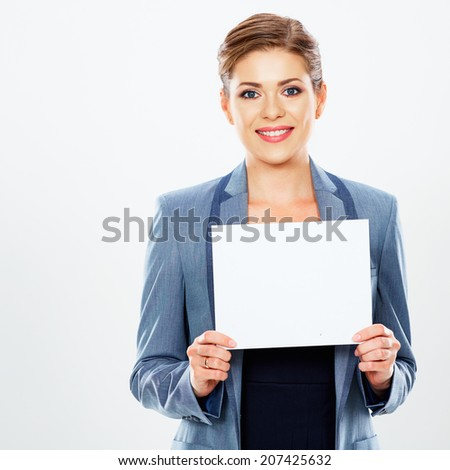 Business woman hold banner, white background  portrait. Female business model. Smiling girl isolated. - stock photo