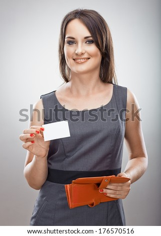 Business woman hold purse , credit card. Gray background isolated.