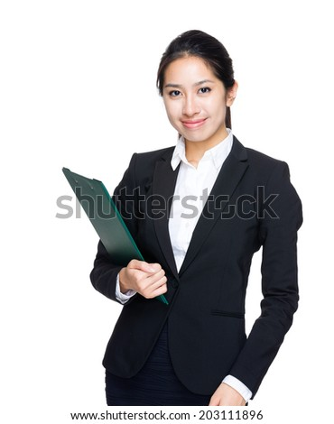 Business woman hold with clipboard - stock photo