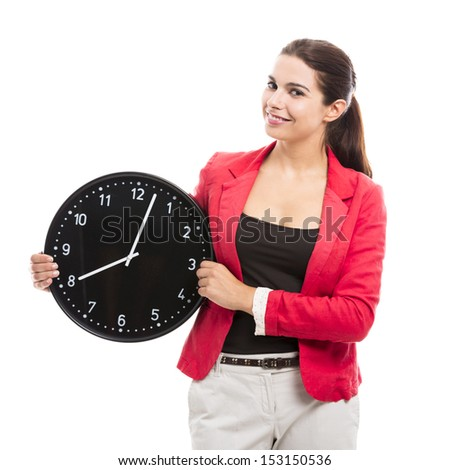 Business woman holding a big clock on the hands - stock photo