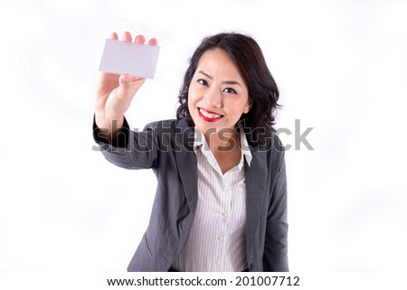 Business woman holding a blank card - stock photo