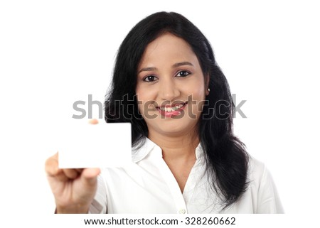 Business Woman holding a blank card against white - stock photo