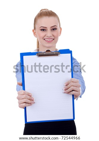 Business woman holding a blank clipboard. Isolated on white background - stock photo