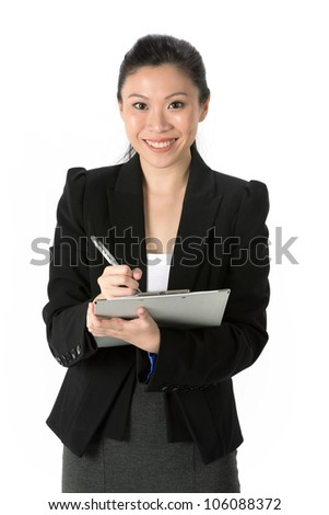 Business Woman Holding A Clip Board With Pen. Isolated on white background. - stock photo