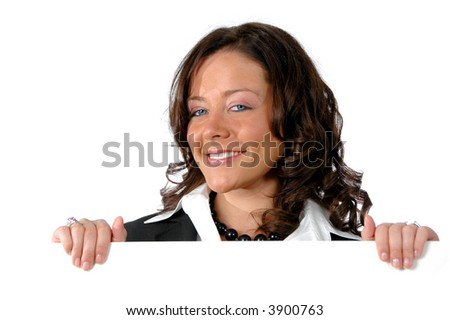 Business woman holding a horizontal blank sign