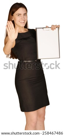 Business woman holding a paper holder. A second hand shows the stop. - stock photo