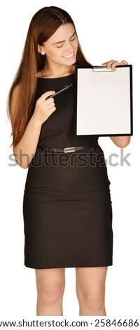 Business woman holding a pen and clipboard - stock photo