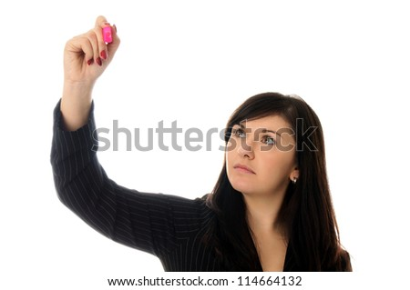 Business woman holding a pen / Business woman - stock photo