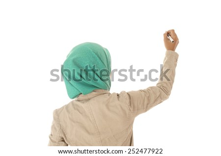 Business woman holding a pen pointing something on screen   - stock photo