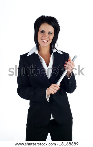 Business woman holding a ruler and smiling at the camera