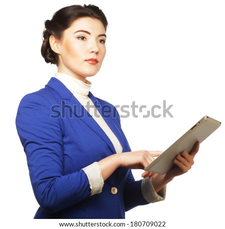 Business woman holding a tablet computer