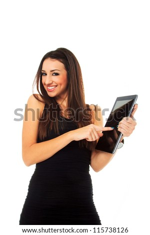 Business woman holding a tablet computer - isolated over a white background - stock photo