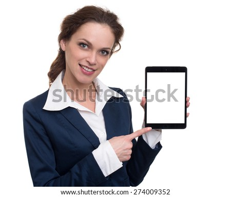 Business woman holding a tablet computer - isolated over white background - stock photo