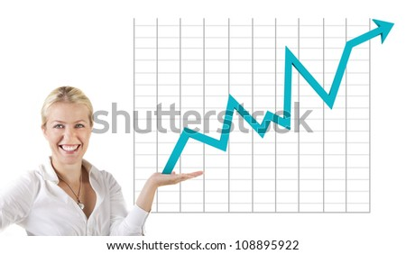 Business woman holding an rising arrow graph - stock photo