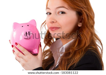 Business woman holding and showing piggy bank, isolated on white background.