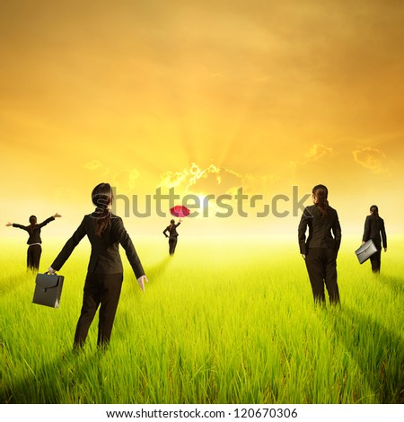 Business woman holding bag in green rice field and sunset