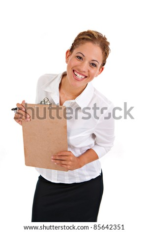 Business Woman Holding Binder Isolated on White Background - stock photo
