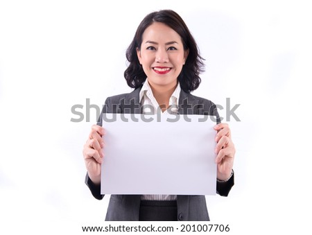 Business Woman Holding Blank paper. Isolated On White background