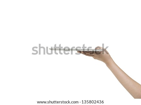 Business woman holding blank touch screen device.Include clipping path - stock photo