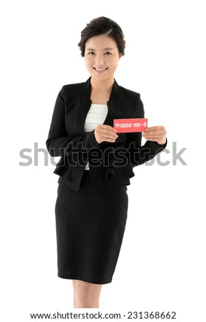 Business woman holding card propose me