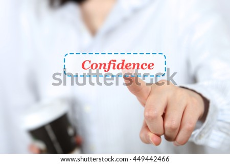 Business woman holding coffee and pressing confidence button