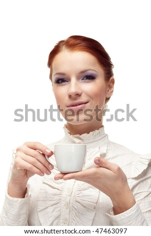 Business woman holding cup of coffee.