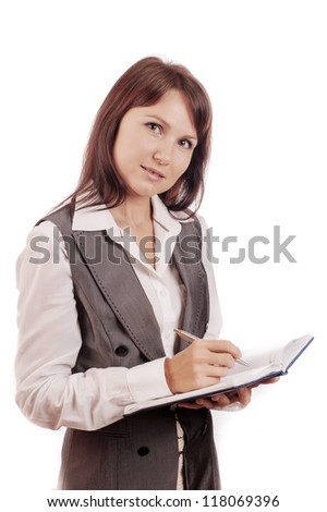 Business woman holding diary and pen, isolated on white background - stock photo