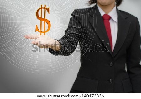 business woman holding dollar symbol