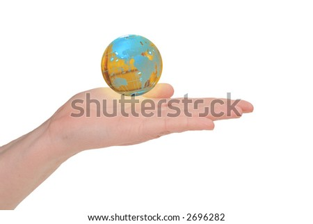 Business woman holding earth in her hand isolated on white