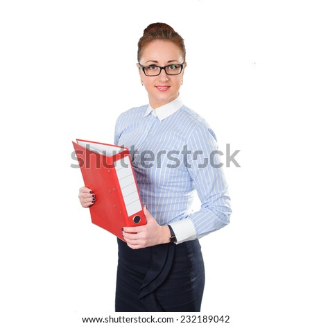 Business woman holding folder with documents in hand. Young stylish business woman isolated on white. White caucasian redhead female model. - stock photo