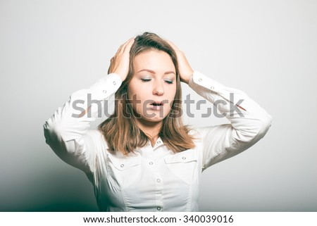 Business woman holding his head. headache - stock photo