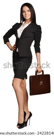 Business woman holding in his hand leather briefcase - stock photo